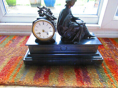 Black Marble Gothic Victorian Mantle clock