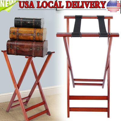 "32*18*17"" Portable Wood Travel Folding Luggage Suitcase Holder Rack Stand Home"