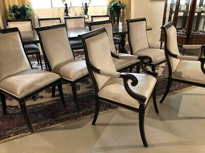 Set of 10 high back Chinoiserie Piano Black Traditional dining chairs
