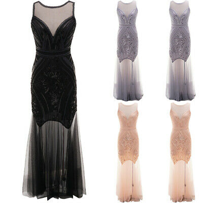 Vintage 1920s Mesh Flapper Great Gatsby Evening Party Cocktail Sequin Maxi Dress