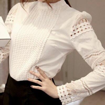 Female Blouse Cotton Lace Women Shirt Casual Lady Long Sleeve Top Flower Hollow
