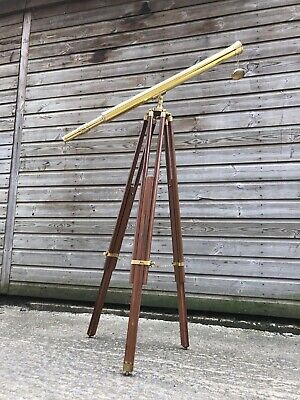 """Marine Navy Nautical Brass Telescope With Wooden Tripod Stand 39""""s"""
