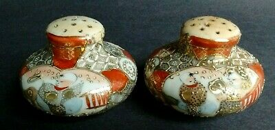 Antique Mrkd Handpainted GOLD MORIAGE Figure & Floral Shakers MUFFINEER Japanese