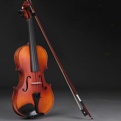 New Acoustic Violin 4/4 Full Size with Case and Bow Rosin Natural Basswood
