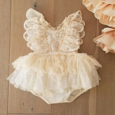 UK Summer Newborn Baby Girl Clothes Sleeveless Lace Romper Tutu Dress Outfits
