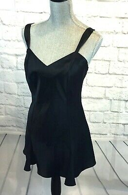 Vtg  Lingerie Cacique Sexy Short Black Satin Bombshell Nightgown Sz S