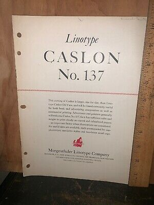 Linotype caslon No. 137 Type Brochure, Mergenthaler Linotype Company.