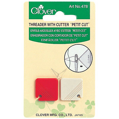 "CLOVER NEEDLE THREADER WITH CUTTER -""PETIT CUT"" -2 pack SAFE FOR TRAVEL - CL478"
