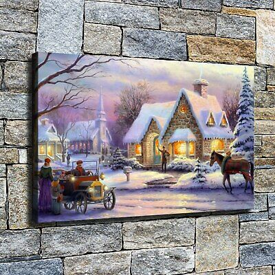 """12""""x20""""Christmas street HD Print on Canvas Home Decor Room Wall picture painting"""