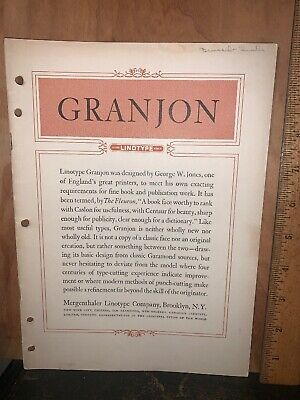 Granjon Linotype Type Brochure,mergenthaler Linotype Company.