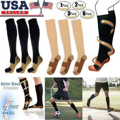 Copper Fit Energy Knee High Compression Socks / Hose/ 6 PAIRS NEW