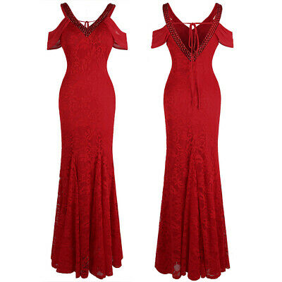 Angel-fashions V Neck Beaded Lace Off Shoulder Chiffon Evening Dress Red 477