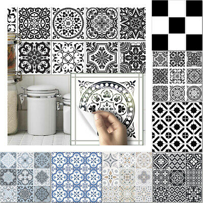 10pcs Moroccan Style Tile Wall Stickers Kitchen Bathroom Self-Adhesive Mosaic UK