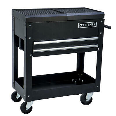 Craftsman 2 Drawer Tool Cart 31 Inch Mechanic Rolling Storage Organizer Black