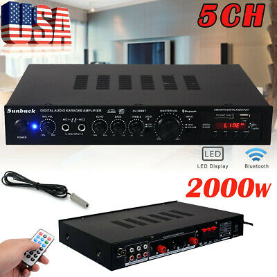 5Channel 2000W 110V Bluetooth Home Stereo Power Amplifier Amp USB SD Remote HiFi