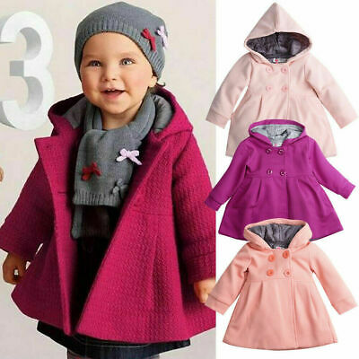 Winter Baby Toddler Girls Kids Warm Trench Coat Hooded Outerwear Jacket Clothes