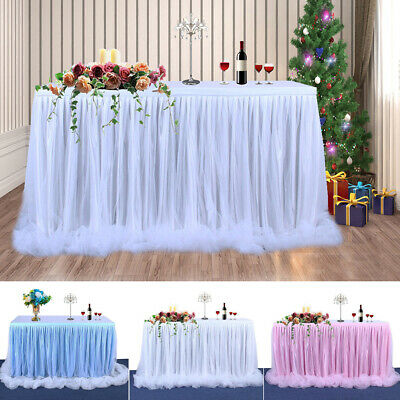 100*75cm Table Skirt Tutu Tulle Table Cloth Wedding Party Home Table Decors UK