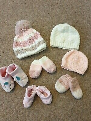 Baby Girls 0-6months Hats Mittens Soft Shoes Slippers Bundle Various Brands