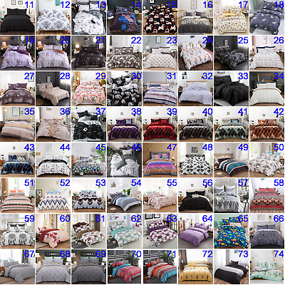 Floral Quilt Doona Duvet Cover Set Single Double Queen King Size Bed Bedding