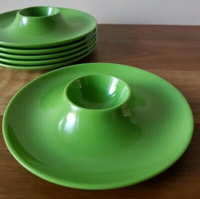 Vintage Retro Melamine Plastic Egg Cups x 6 Collectable Green Mid Century