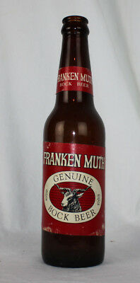 Franken Muth Bock Beer Vintage Bottle Brown Glass Brewing Frankenmuth IN Paper