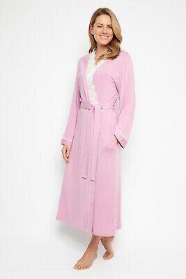 Ladies Pink Soft Knit & Lace Dressing Gown Robe 'Lydia' Nora Rose (1349)