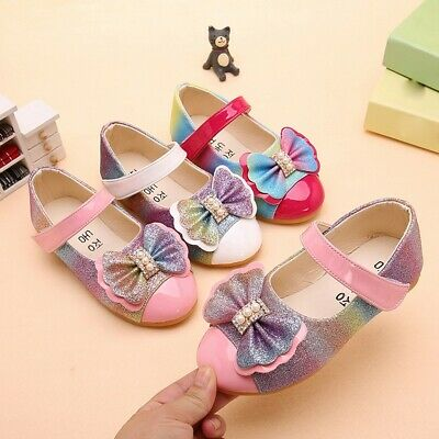 Children Kids Baby Shoes Girls Pearl Bowknot Bling Single Princess Casual Shoes