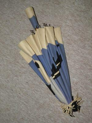 Vintage Chinese Cream & Blue Felt Parasol For Restoration