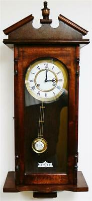 Vintage Franz Hermle German 8 Day Striking Carved Mahogany Vienna Wall Clock
