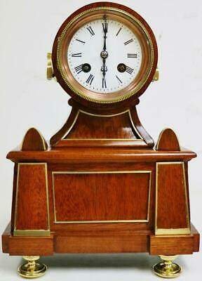 Stunning Antique French 8 Day Striking Mahogany & Brass Drumhead Mantel Clock