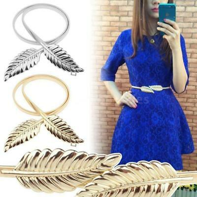 Fashion Women Lady Metal Leaves Belt Elastic Waist Straps Cummerbund Belt LE