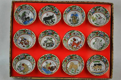 Collect Chinese portrays 12 zodiac porcelain teacup bowl