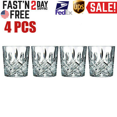 Double Old Fashioned Glasses Waterford Markham Scotch Whiskey Crystal Set of 4