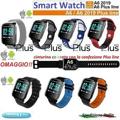 ⭐SMART WATCH A 6 Plus 2019 Bluetooth Scegli Color per Android / ios menu fitness