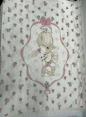 Precious Moments Baby Blanket Quilt Vintage comforter lovey VTG PINK dolly bunny