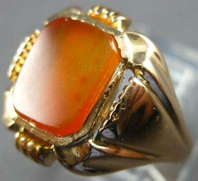 Antique Wide Aaa Orange Chalcedony 14Kt Rose Gold 3D Classic Square Men's Ring