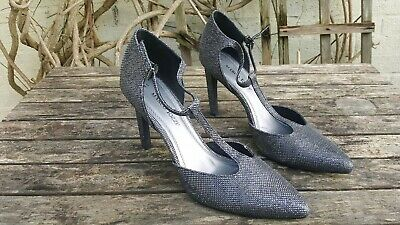 MARCO TOZZI Silver Stiletto Heels Shoes Party Strappy Sz 41