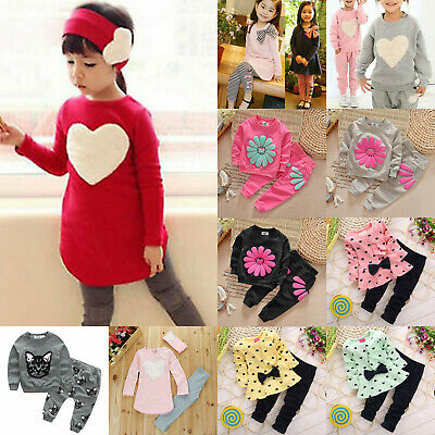 Kids Girls Print Bow Outfits Sets Pullover Sweatshirts+Trousers Tracksuit 2PCS