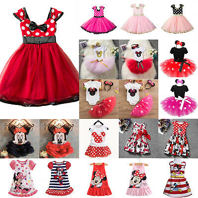 Kid's Girls Minnie Mouse Tutu Tulle Dress Summer Party Spotted Princess Skirts
