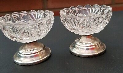 Antique Cut Glass And Sterling  Silver Individual Dishes