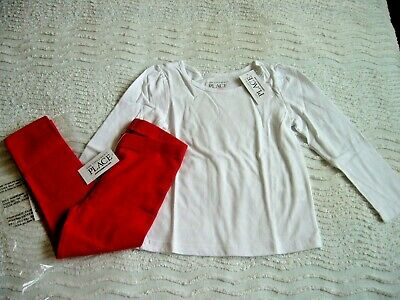 Bnwt 2 Years White L/S Top & Red Stretch Leggings The Children's Place