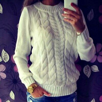 Women Long Sleeve Knitted warm sweater Outwear Casual woolly cable knit jumper