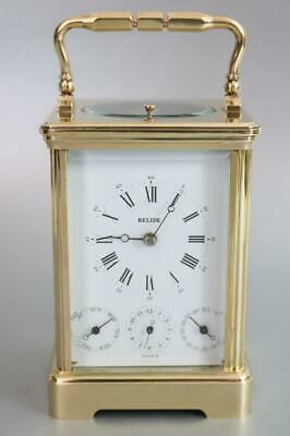 L'EPEE LUXURY FRENCH CARRIAGE CLOCK calendar, alarm, strike, repeat SWISS RETAIL