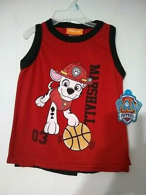 Nick Jr Paw Patrol Short Set 24 M Red and Black with Marshall on the Shirt NWT.