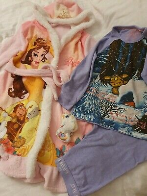 Girls Age 5-6 Pyjamas And Dressing Gown Gruffalo And Disney Belle With...
