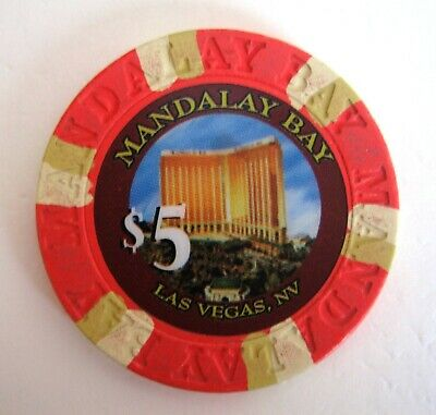 $5 Mandalay Bay Las Vegas Casino Chip Vintage House Mold Issued 1999 Hotel Scene
