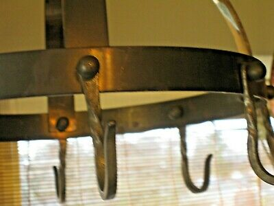 Vintage Metal Brass Round Hanging Pots & Pans Kitchen Utensils Rack 8 Hooks