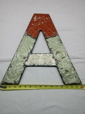 """Architectural Salvage Art- Letter """"A"""" Metal & Wood Materials"""