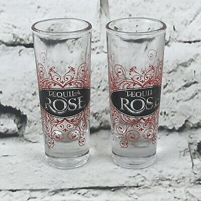 Tequila Rose Shot Glass Shooters Lot Of Two Clear Red
