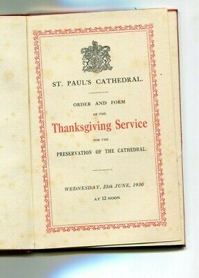 St Paul's Cathedral 1930 Thanksgiving Service & ticket